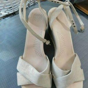 Ugg Australia Size 12 Gold Ankle Strap Wedge Heels
